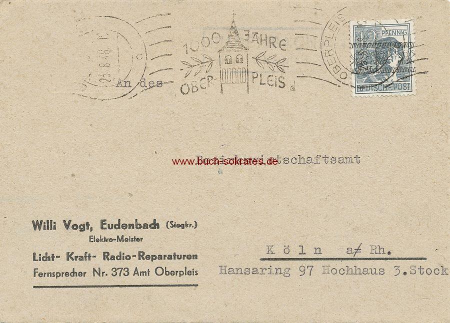 Dokument Postkarte Fa. Willi Vogt, Eudenbach an Bezirkswirtschaftsamt Köln - Bezugsscheine (1948)