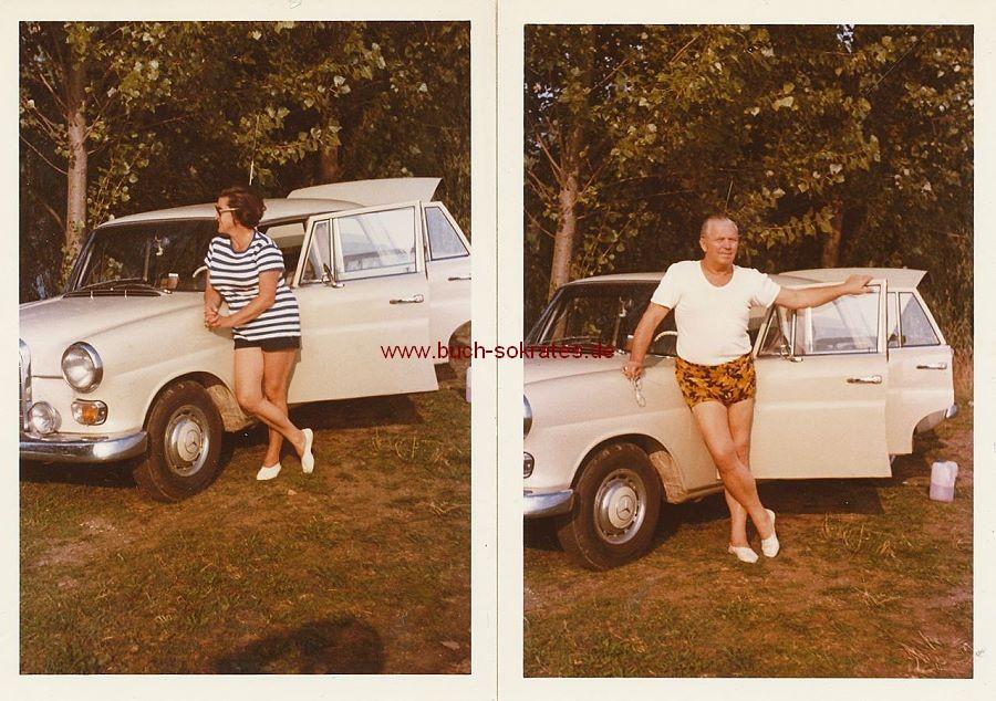 Foto Ehepaar aus Regensburg mit ihrem Mercedes Benz (ca. 1970)