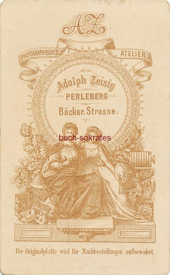 CdV Rückseite Foto-Atelier: AZ Adolph Zeisig, Perleberg, Bäcker-Straße (ca. 1870)