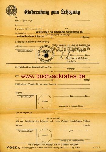 Einberufungsschreiben zu einem anerkannten Lehrgang (~1935)