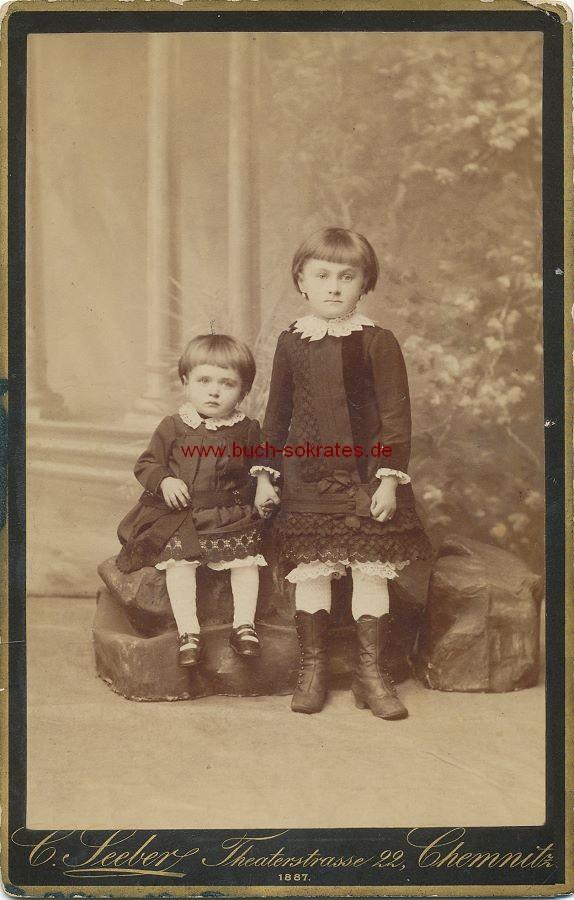 KAB 2 kleine Mädchen aus Chemnitz / Clemens Seeber Porträt Tricycle (1887)