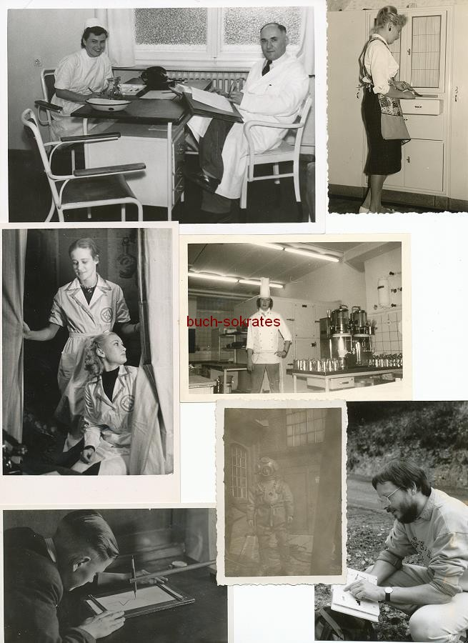 Foto Arbeit / Arbeitswelt / Arbeiter - Frauen in Schürzen, Bauarbeiter, Krankenschwestern (ca. 1930-1980)