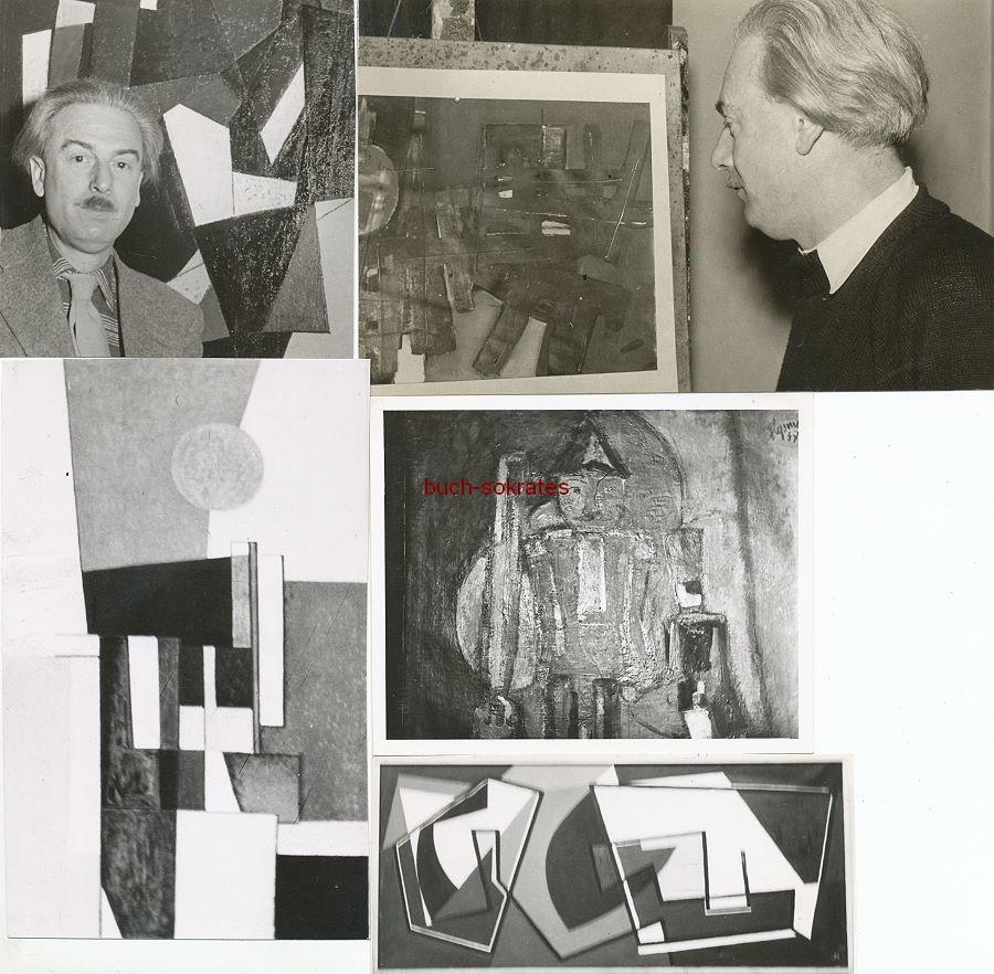 Foto Der Mülheimer Künstler Heinrich Siepmann (1904-2002) mit seinen abstrakten Werken (ca. 1965)