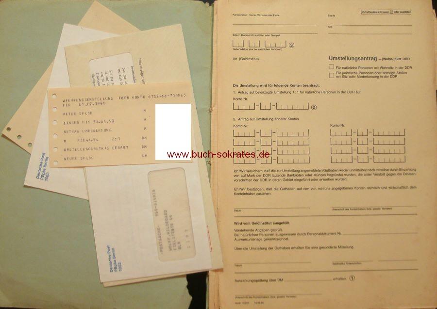 Dokument Unterlagen Blankoformular Umstellungsantrag / Deutsche Einheit (1990)