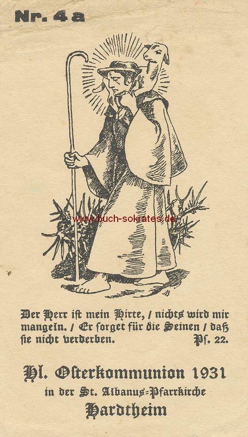 Gebetszettel Heilige Osterkommunion 1931 in der St. Albanus-Pfarrkirche Hardtheim - 1931