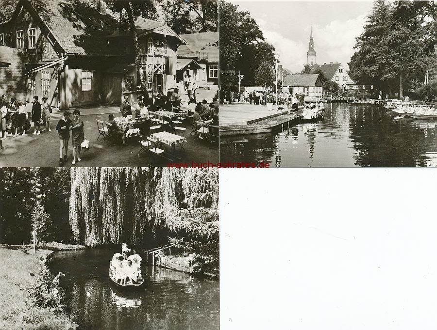 Foto Lübbenau / Spreewald (Brandenburg): Ortsteil Lehde HO-Gaststätte Fröhlicher Hecht / Hafen Lübbenau / Bootspartie im Spreewald Damen in sorbischer Tracht (ca. 1975)