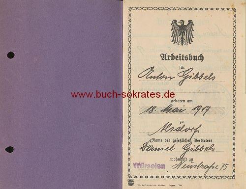 Arbeitbuch Eschweiler Bergwerks-Verein Hauptwerkstätte Maria II - Bürgermeister Würselen
