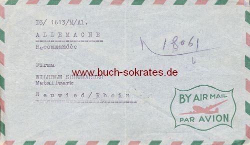Briefumschlag Chef des Kaiserlich-Iranischen Arsenals an Wilhelm Schumacher Metallwerk, Neuwied / Rhein (1955)