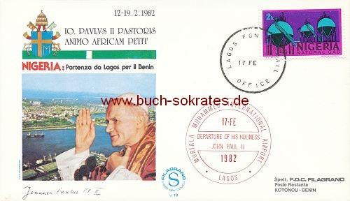 Briefumschlag Papst Johannes Paul II. - Besuch in Nigeria