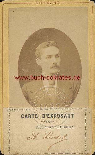 Foto-Ausweis Mann für Nationale Ausstellung 1880 in Belgien (1880)