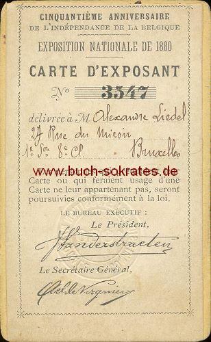 Foto-Ausweis Mann für Nationale Ausstellung 1880 in Belgien (1880) - verso