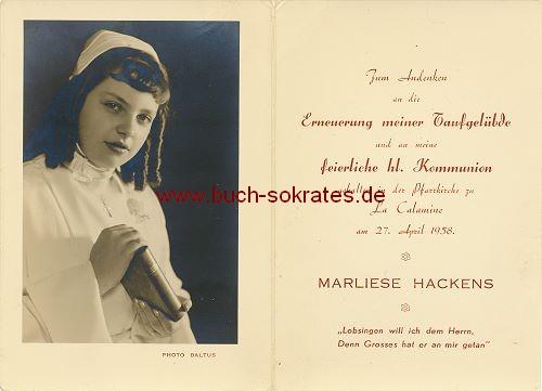 Junge Frau mit Korkenzieher-Locken aus La Calamine / Kelmis - Kommunion (1958)
