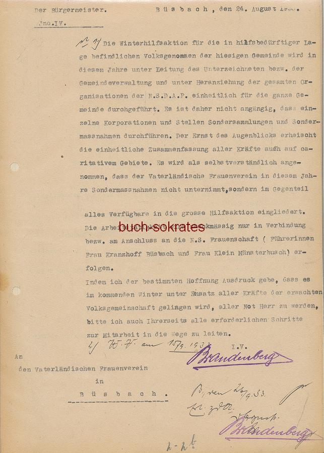 Dokumente Deutsche Rotes Kreuz / Büsbach aus den Jahren 1933-34 - Rotkreuztag, Rotkreuztagsammlung, Winterhilfsaktion, Rundschreiben, Personalien (1933-34)