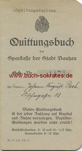 Buchversand Sokrates: Sparkasse der Stadt Bautzen: Quittungsbuch der ...