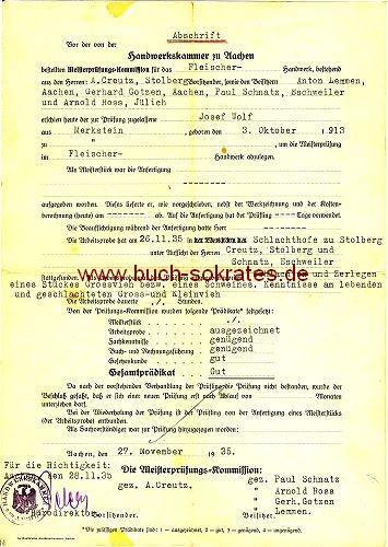 Zeugnis-Abschrift Fleischer-Meister Merkstein / Aachen