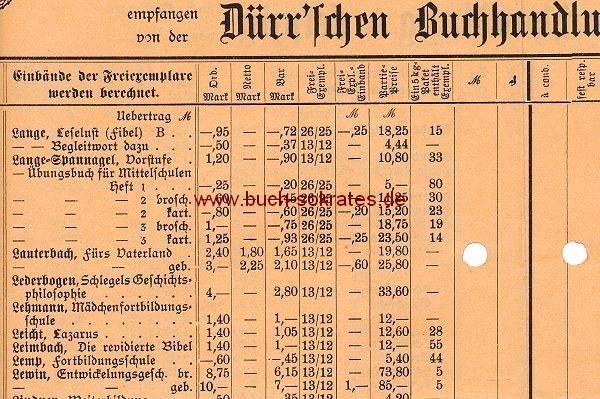 Bestell-Liste Dürr sche Buchhandlung in Leipzig von 1914