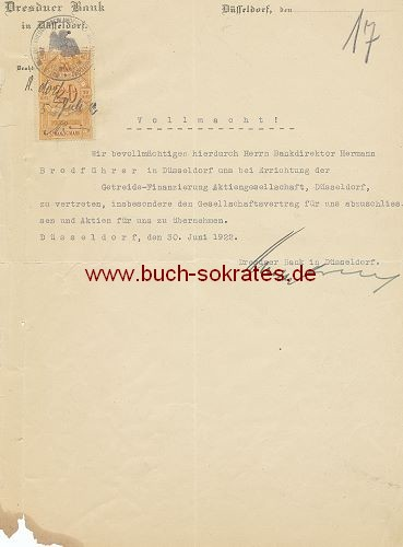 Dokument Vollmacht Dresdner Bank (1922)