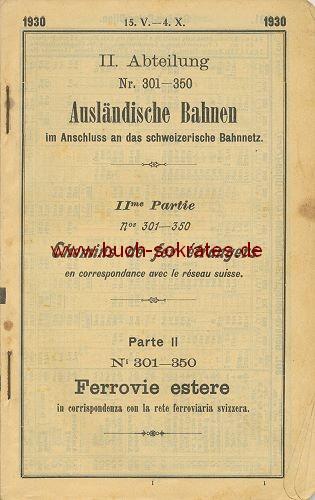 Schweizer Eisenbahn-Fahrplan von 1930