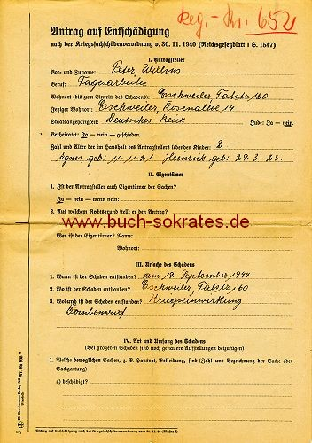Antrag auf Entschädigung Eschweiler 1946