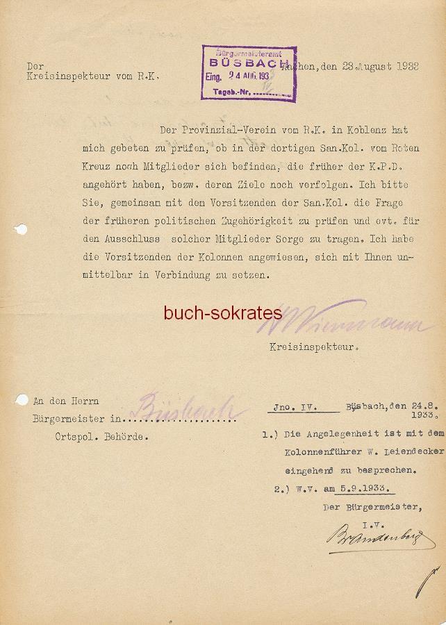 Beleg für die Kommunisten-Hatz der Nazis im Zuge der Gleichschaltung: Suche nach (ehemaligen) KPD-Anhängern innerhalb des Roten Kreuzes (1933)