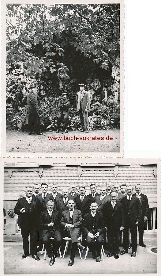 Foto Einige Männer in Bad Wildbad im Kurgarten an der Grotte / zum Gruppenbild mit Bad-Kameraden (1934)