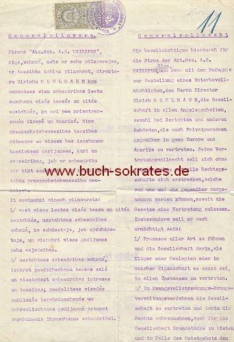 Dokument Generalvollmacht Fa. AG Maikapar, Riga mit Stempelmarke (1921)