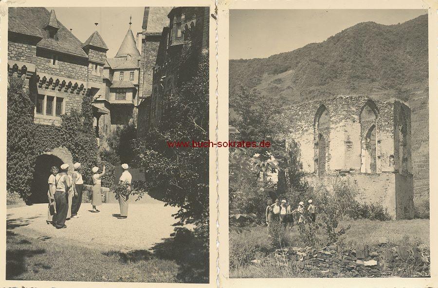 Foto Touristengruppe im Schloss Braunfels + Foto vor Ruine (1934)