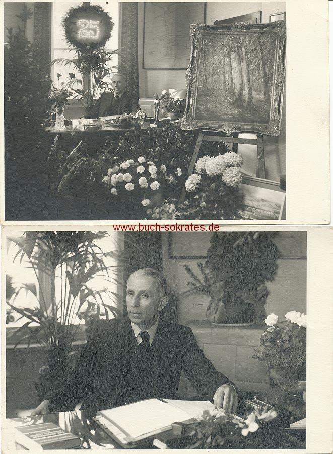 Foto Älterer Mann aus Stolberg zum Jubiläum mit Geschenken (ca. 1935)