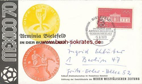 Briefumschlag zum Aufstieg 1970 von Arminia Bielefeld in die Fußball-Bundesliga (1970)