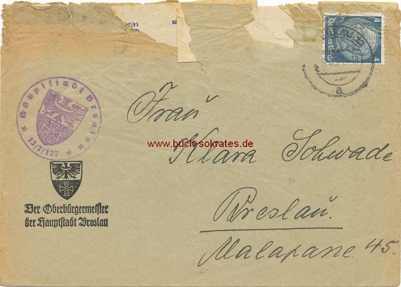 Briefumschlag Bürgermeister der Hauptstadt Breslau