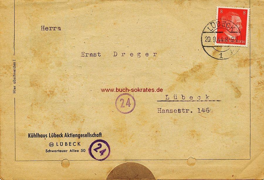 Dokument Faltblatt Kühlhaus Lübeck Aktiengesellschaft, Lübeck mit einer Rechnung an Fa. Ernst Dräger, Lübeck (1944)