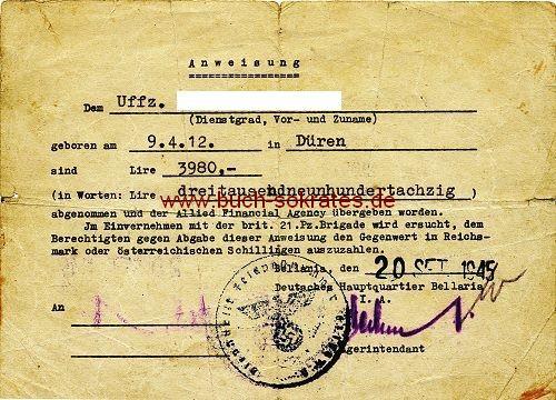 Anweisung Deutsches Hauptquartier Bellaria / Italien zur Auszahlung eines Lire-Betrags in Reichsmark - 1945