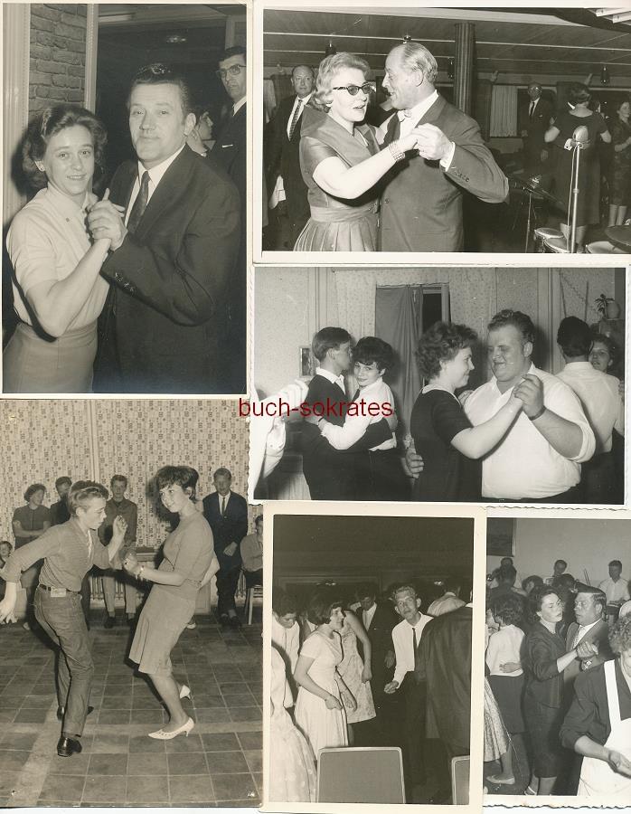 Foto-Konvolut Fotos mit Tanzpaaren, Tanzveranstaltungen, Tanzgesellschaften: Schieber, Klammerblues, Standard, Paartanz, Gesellschaftstanz, Twist, Reigen, Ringelpiez, Freestyle (ca. 1950-65)
