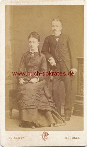 CdV Foto Paar mittleren Alters aus Bourges (ca. 1870)