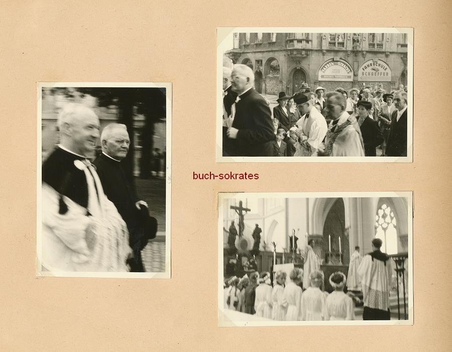 Foto-Album Fotos Priester aus Geilenkirchen: Kindheit, Theateraufführung (wohl Passionsspiel), in Uniform (Sanitäter bei der Kriegsmarine?), Primiz beim Missionspriesterseminar in St. Augustin (ca. 1950)