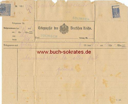 Telegramm von Greiz nach Solingen (1920)