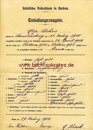 Entlassungszeugnis Städtische Volksschule Aachen 1924
