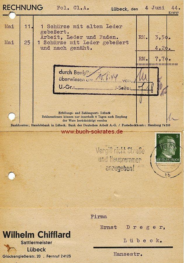 Dokument Postkarte Wilhelm Chifflard, Sattlermeister, Lübeck - Rechnung (1944)