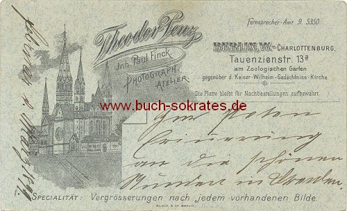 CdV Rückseite Kaiser-Wilhelm-Gedächtnis-Kirche Berlin (ca. 1899)