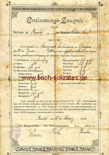 Entlassungs-Zeugnis Schülerin Schule Brühl - 1904