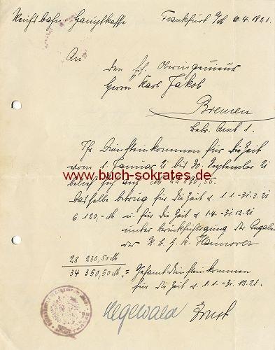 Bescheinigung über Diensteinkommen eines Oberingenieurs der Reichsbahn