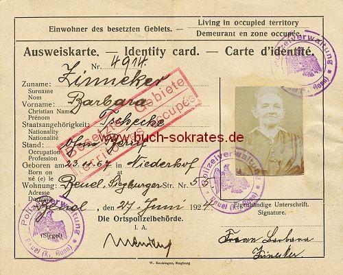 Ausweiskarte 1924 Besetzte Gebiete