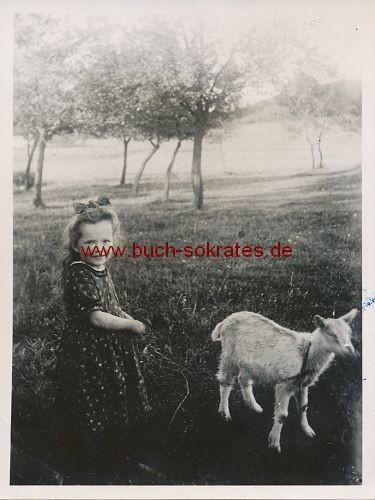 Foto Mädchen aus Holzen / Arnsberg auf dem Land mit Tieren (ca. 1925)
