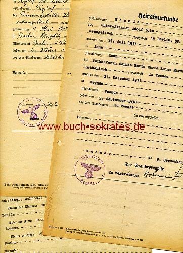 Großes Konvolut mit 81 Heiratsurkunden aus den Jahren 1919 bis 1953