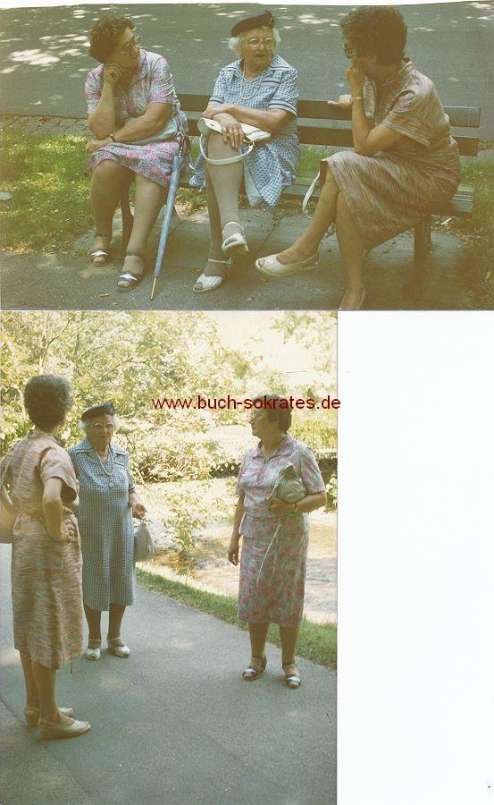 Foto Drei ältere Damen beim Schwatz auf einer Parkbank (1986)