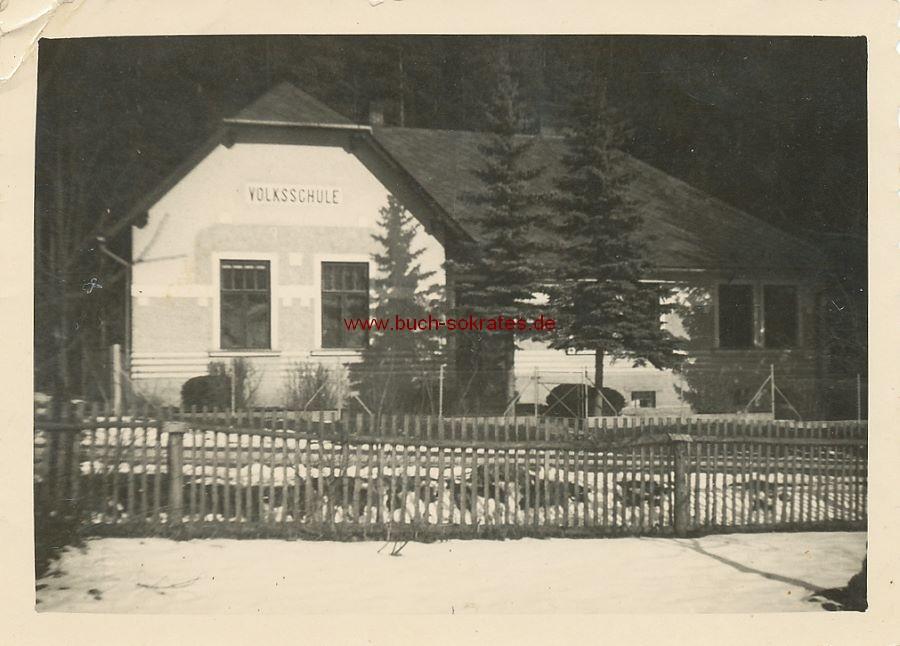 Foto Volksschule in Altbürgersdorf / Alt Bürgersdorf Nr. 62 (heute Stare Purkartice, Tschechien) (1938)