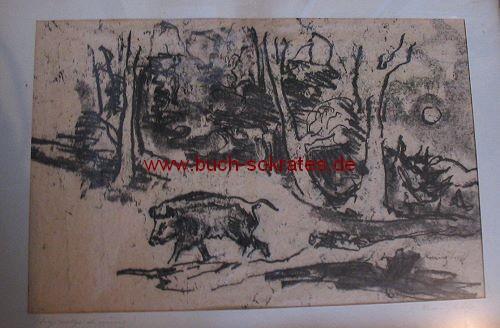 Josef Kranzhoff: Wildschwein auf Waldlichtung (Handzeichnung)