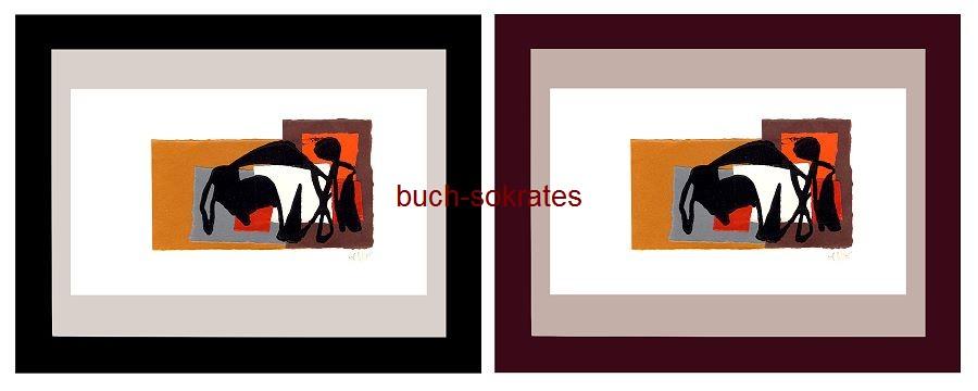 Original-Linolschnitt / Künstlerpostkarte - Corrida / Stierkampf (2002/17)