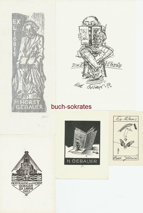 6 Exlibris für Horst Gebauer: 1.) Andrzej Buchaniec: Mann mit Buch - 2.) o.A.: Mann mit Buch auf Stuhl - 3.) Tadeusz Szumarski: Paar mit Buch - 4.) o.A.: Holzwurm mit Buch - 5.) Person mit Buch - 6.) o.A.: Buch mit Initialen GH (ca. 1985)