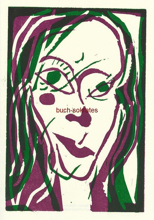 Graphik Original-Farblinolschnitt Maxim Kantor: Portrait of Daria (2009)